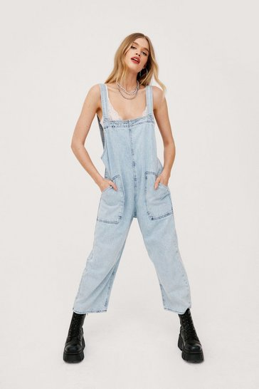 Washed blue Denim Relaxed Seam Detail Culotte Overalls