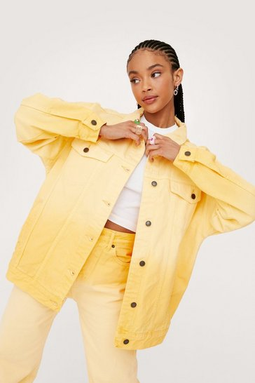Lemon Bleached Two Tone Oversized Denim Jacket