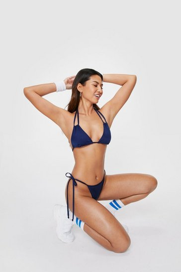 Navy Strappy Halter Neck Triangle Bikini Top