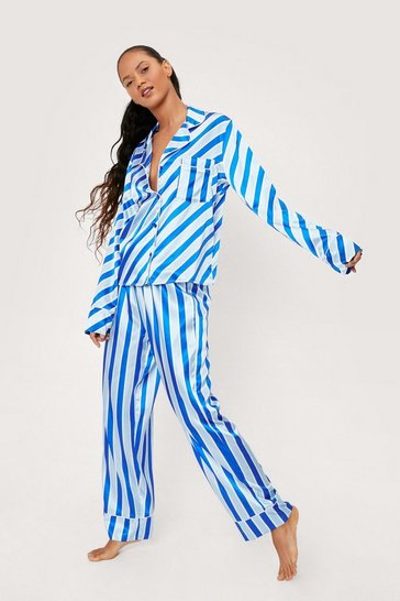 Navy Satin Varying Stripe Shirt and Pants Pajama Set