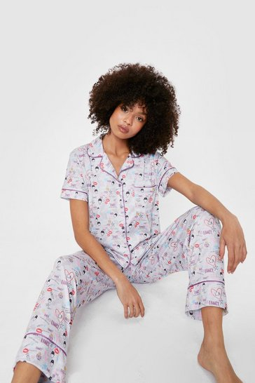 Grey marl Nasty Gal Graphic Shirt and Pants Pajama Set