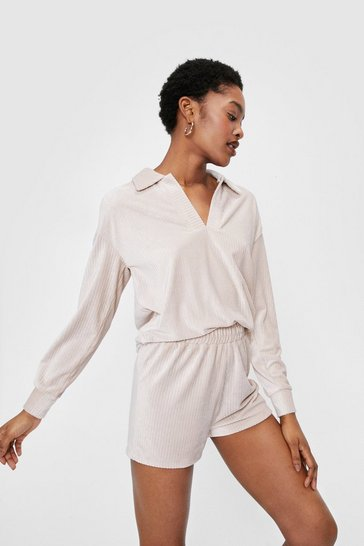 Cream Velour Collar Sweatshirt and Shorts Lounge Set