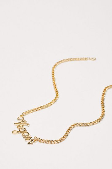 Gold Vegan Slogan Chain Necklace