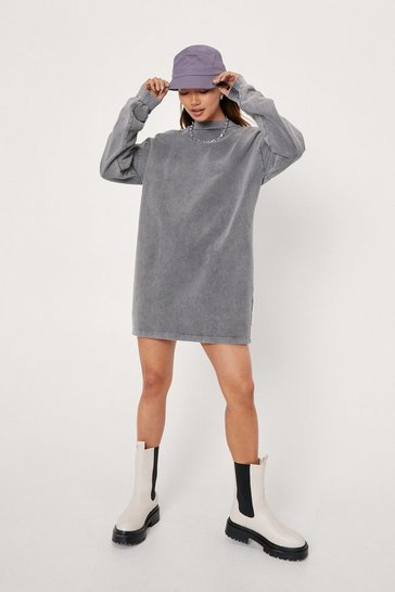 Grey Petite Acid Wash Sweatshirt Mini Dress