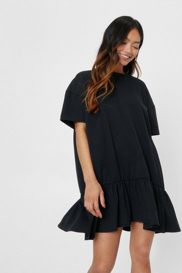 Black Petite Crew Neck Oversized Drop Hem T-Shirt Dress