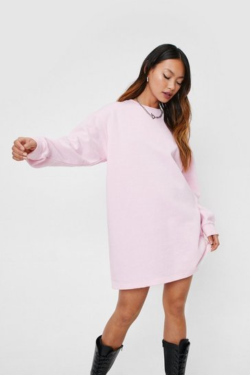 Baby pink Petite Crew Neck Oversized Sweatshirt Dress