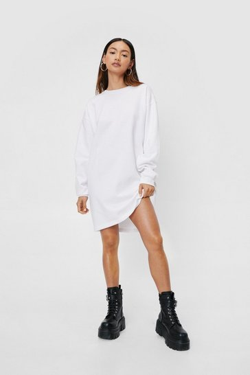 White Petite Crew Neck Oversized Sweatshirt Dress