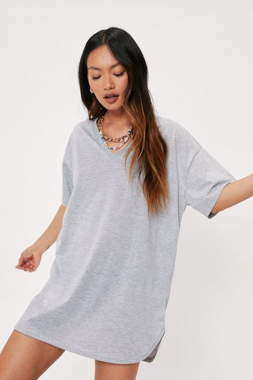 Grey Petite V Neck Oversized T-Shirt Mini Dress