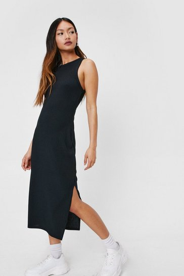 Black Petite Ribbed Racer Midi Dress