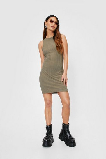 Khaki Petite Ribbed Racerback Mini Dress