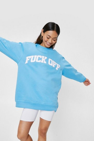 Blue Petite Fuck Off Oversized Graphic Sweatshirt