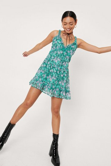 Green Petite Floral Print Ruffle Mini Dress