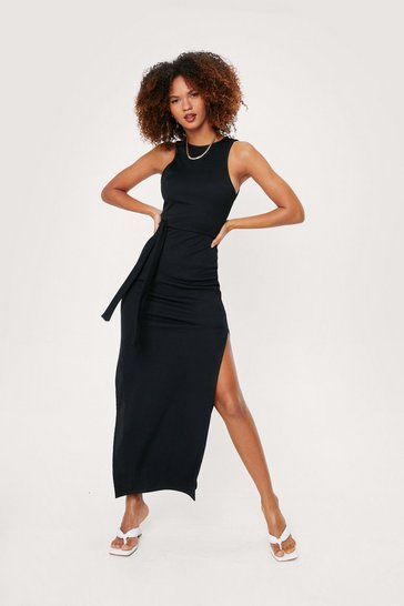 Black Split Hem Racerback Belted Maxi Dress