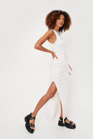 Ecru Split Hem Racerback Belted Maxi Dress