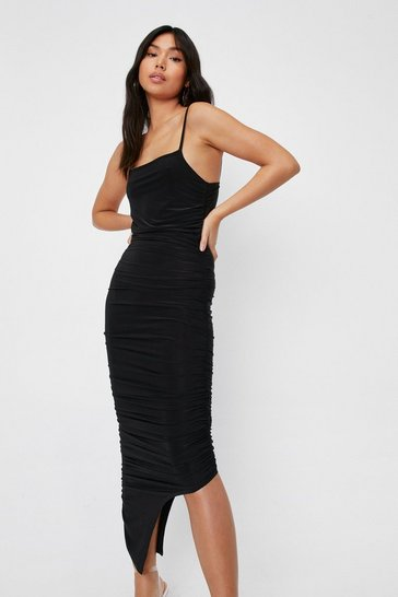 Black Ruched Square Neck Asymmetric Hem Maxi Dress