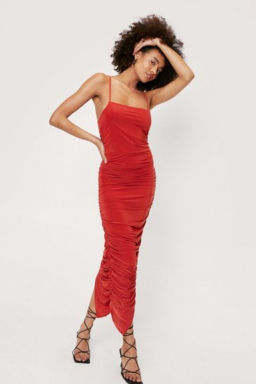 Cinnamon Ruched Square Neck Asymmetric Hem Maxi Dress