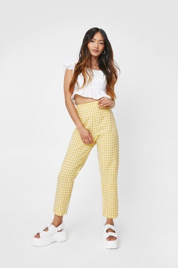 Yellow Petite Check Print Tapered Pants