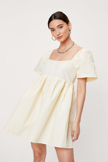 Lemon Petite Cotton Puff Sleeve Smock Dress