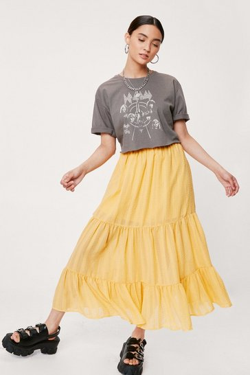 Yellow Petite Textured Tiered Midi Skirt