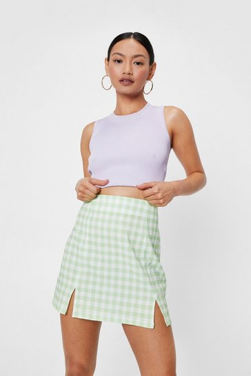Green Petite Check Double Slit Mini Skirt