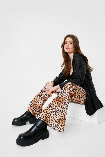 Brown High Waisted Leopard Flare Pants