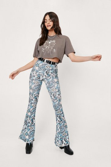 Pale blue Paisley Print High Waisted Flare Pants