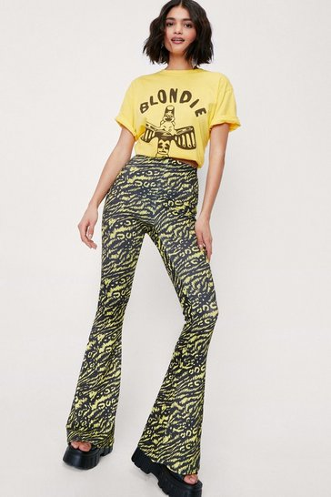 Bright yellow Zebra and Leopard High Waisted Flare Pants
