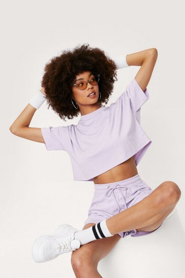 Lilac Cropped T-Shirt and Jogger Shorts Set