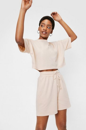 Sand Cropped T-Shirt and Sweat Shorts Set
