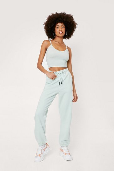 Mint Scoop Neck Crop Top and Oversized Jogger Set