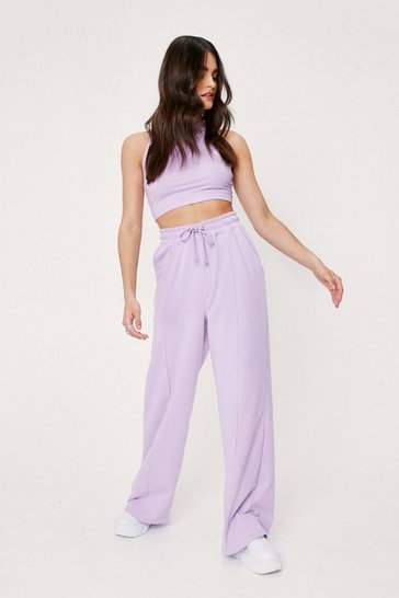 Lilac Racerback Crop Top and Wide Leg Lounge Set