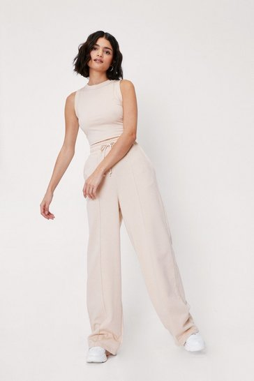 Sand Racerback Crop Top and Wide Leg Lounge Set