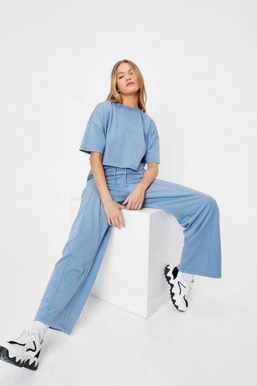 Dusty blue Cropped T-Shirt and Wide Leg Pants Set
