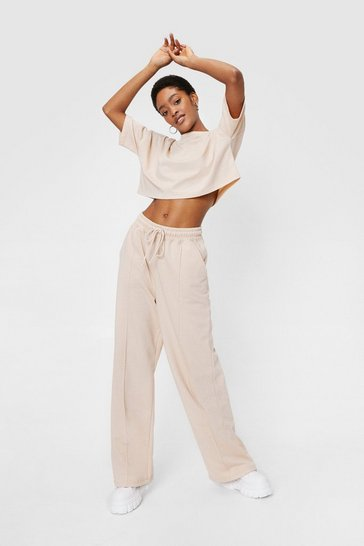 Sand Cropped T-Shirt and Wide Leg Pants Set