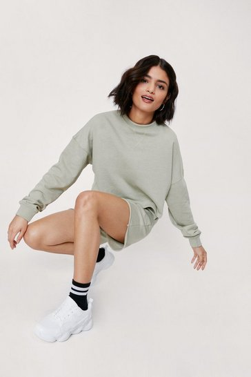 Sage Cropped Sweatshirt and Longline Shorts Lounge Set