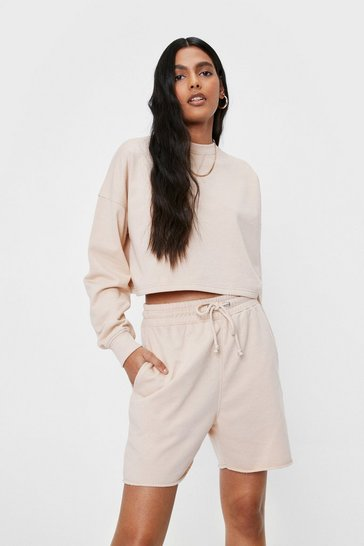 Sand Cropped Sweatshirt and Longline Shorts Lounge Set
