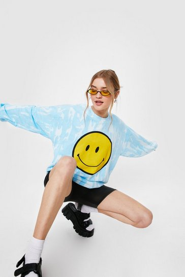 Blue Smiley Face Tie Dye Oversized Graphic Sweatshirt