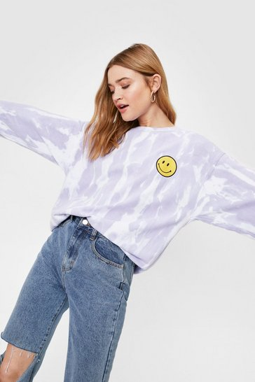 Lilac Embroidered Tie Dye Smile Face Sweatshirt