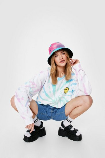 White Embroidered Smiley Face Tie Dye Graphic Sweatshirt