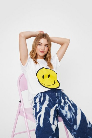 White Printed Smiley Face Tshirt