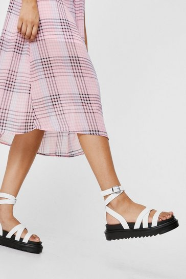 White Faux Leather Multi Strap Flatform Chunky Sandals