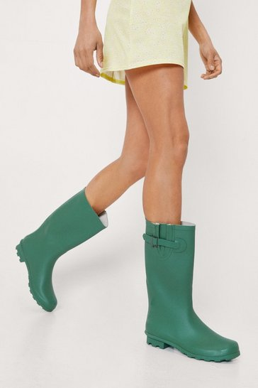 Green Calf High Adjustable Rain Boots