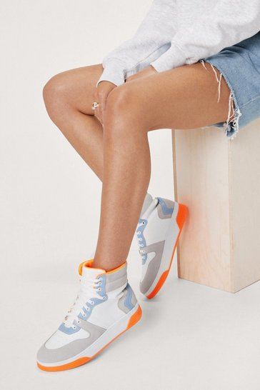 Orange Faux Leather Colorblock High Top Sneakers