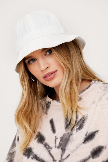 White Cotton Unstructured Dome Bucket Hat
