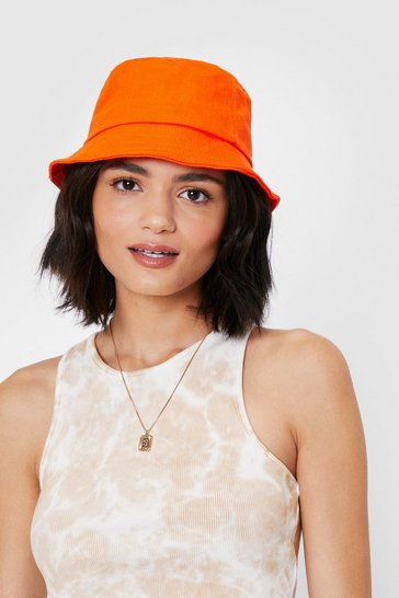 Orange Cotton Short Brim Bucket Hat
