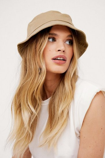 Taupe Cotton Short Brim Bucket Hat