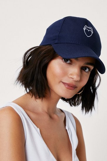 Blue Mouth Off Embroidered Graphic Baseball Cap