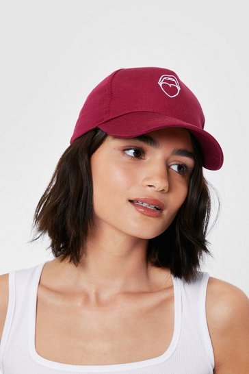 Dark red Mouth Off Embroidered Graphic Baseball Cap