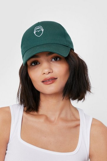 Green Mouth Off Embroidered Graphic Baseball Cap