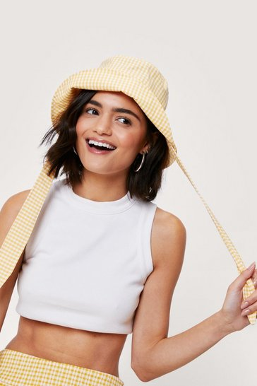 Yellow Poplin Gingham Oversized Tie Bucket Hat